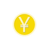 Gold yen coin flat icon, finance and business Stock Image