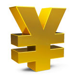 Gold yen sign Stock Images