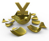 Gold yen sign hatched from eggs of gold Royalty Free Stock Photo