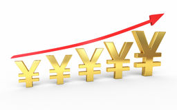 Gold yen signs graphic stock image