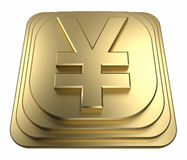 Gold yen symbol on a pedestal 3d rendering Stock Photography