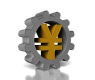 Gold yen symbol. Silver gears with a gold yen symbol Stock Photos