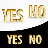 Gold Yes and No signs Royalty Free Stock Photos