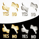 Gold Yes and No signs Stock Photo