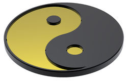 Gold Yin-Yang, symbol of harmony. Computer generated 3d photo rendering Stock Images