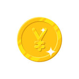 Gold yuan coin cartoon style isolated. Gold yuan or yen coin cartoon style isolated. Shiny gold Chinese yuan or Japanese yen sign for designers and illustrators Stock Photo