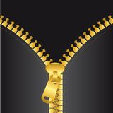 Gold zip vector. With black jacket, background. vector illustration Royalty Free Stock Photo