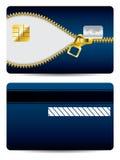 Gold zipper blue credit card Stock Photos