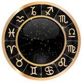Gold zodiac circle copy stock image