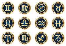 Gold zodiac icon set Royalty Free Stock Photography