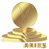 Gold Zodiac sign. Aries - Astrological and Horoscope symbol on p. Edestal Stock Image