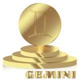 Gold Zodiac sign. Gemini - Astrological and Horoscope symbol on Stock Image