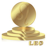 Gold Zodiac sign. Leo - Astrological and Horoscope symbol on ped Royalty Free Stock Photography