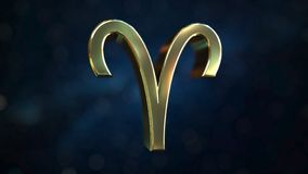 Gold Aries Zodiac sign, 3D rendering. Gold Zodiac sign, part of the set. 3D vector illustration