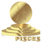 Gold Zodiac sign. Pisces - Astrological and Horoscope symbol on Stock Photo