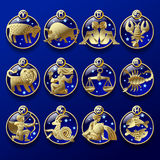 Gold zodiac signs Stock Photos