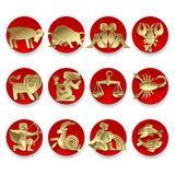 Gold zodiac signs vector illustration