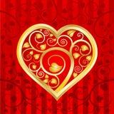 gold2 serca liść wzór Royalty Ilustracja