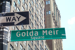 Golda Meir Square. A sign for Golda Meir Square, in Midtown Manhattan, named after the former Israeli Prime Minister Stock Photos