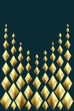 Goldabstrakter Hintergrund Goldene Foliengruß-Feiertagskarte Glühendes geometrisches Muster der Metallraute Tiefgrüne blaue Farbe Stockfoto