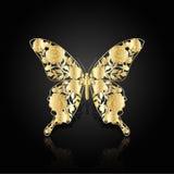 Goldabstrakter Schmetterling auf schwarzem Hintergrund Stockfotografie