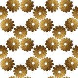 Goldabstraktes Blumenmuster Handgemalter nahtloser mit Blumenhintergrund Lizenzfreie Stockfotografie