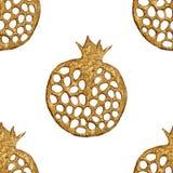Goldabstraktes Granatapfelmuster Handgemalter nahtloser Hintergrund Sommerfruchtillustration Stockfoto