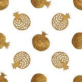 Goldabstraktes Granatapfelmuster Handgemalter nahtloser Hintergrund Sommerfruchtillustration Stockbilder