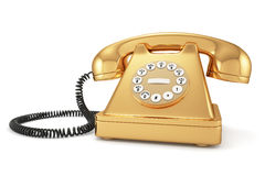 Goldaltmodisches Telefon Stockfoto