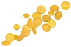 Goldamerikanische Dollar-Münzen stockfotos