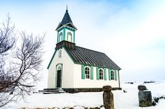 Thingvallakirkja church in Thingvellir National Park in Iceland Royalty Free Stock Photos