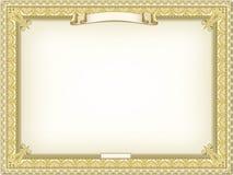 Goldausführliche Bescheinigung Stockbilder