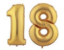 Goldballon achtzehn Stockbild