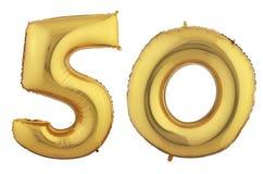 Goldballon fünfzig Lizenzfreie Stockbilder