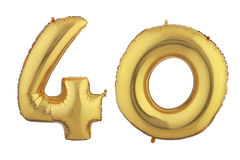 Goldballon vierzig Lizenzfreie Stockfotos