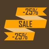 Goldband-Bildrabatte für fünfundzwanzig Prozent auf einem braunen Hintergrund, ausverkaufend, billig und verkaufen Stockbild