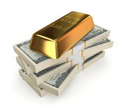 Goldbar on a stack of dollars. Isolated on white.3d rendered Royalty Free Stock Photography