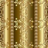 Goldbarockes nahtloses Muster Griechische Verzierungen lizenzfreie stockfotografie