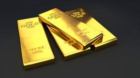 Goldbarren auf schwarzen Hintergründen Stockfotos
