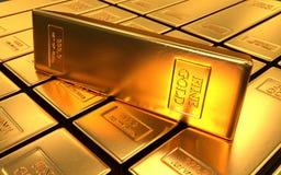 Goldbarren auf schwarzen Hintergründen Stockbild