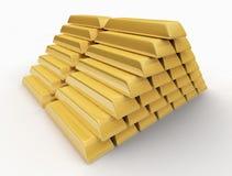 Goldbarren auf weißem Fußboden Stockbild