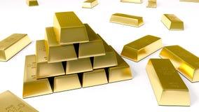 Goldbarren auf weißer Hintergrundillustration stockfoto
