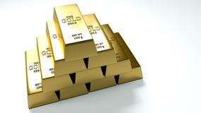 Goldbarren auf weißer Hintergrundillustration stockbild