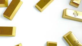 Goldbarren auf weißer Hintergrundillustration stockfotos