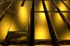 Goldbarren drei Maßkonzept Hintergrund- Stockfotos