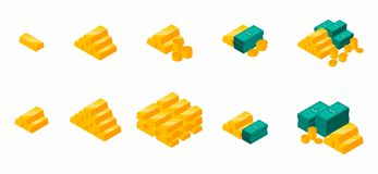 Goldbarren häufen an, isometrisch, Dollar der Bündel-, Geld, Dollar, Stapel des Geldes, die Münze, isometrisch, Ikonensatz, Ikone lizenzfreie abbildung