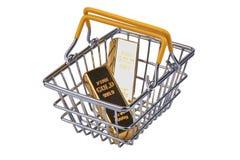 2 Goldbarren 1 Kilogramm, in Einkaufen-streel Korb mit gelbem Kennzeichen lizenzfreie stockfotografie