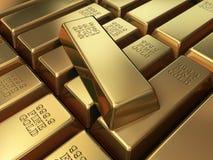 Goldbarren Stapeln stock abbildung