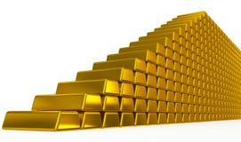 Goldbarren Treppe Stockbilder