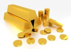 Goldbarren und Goldmünze Stockfotos